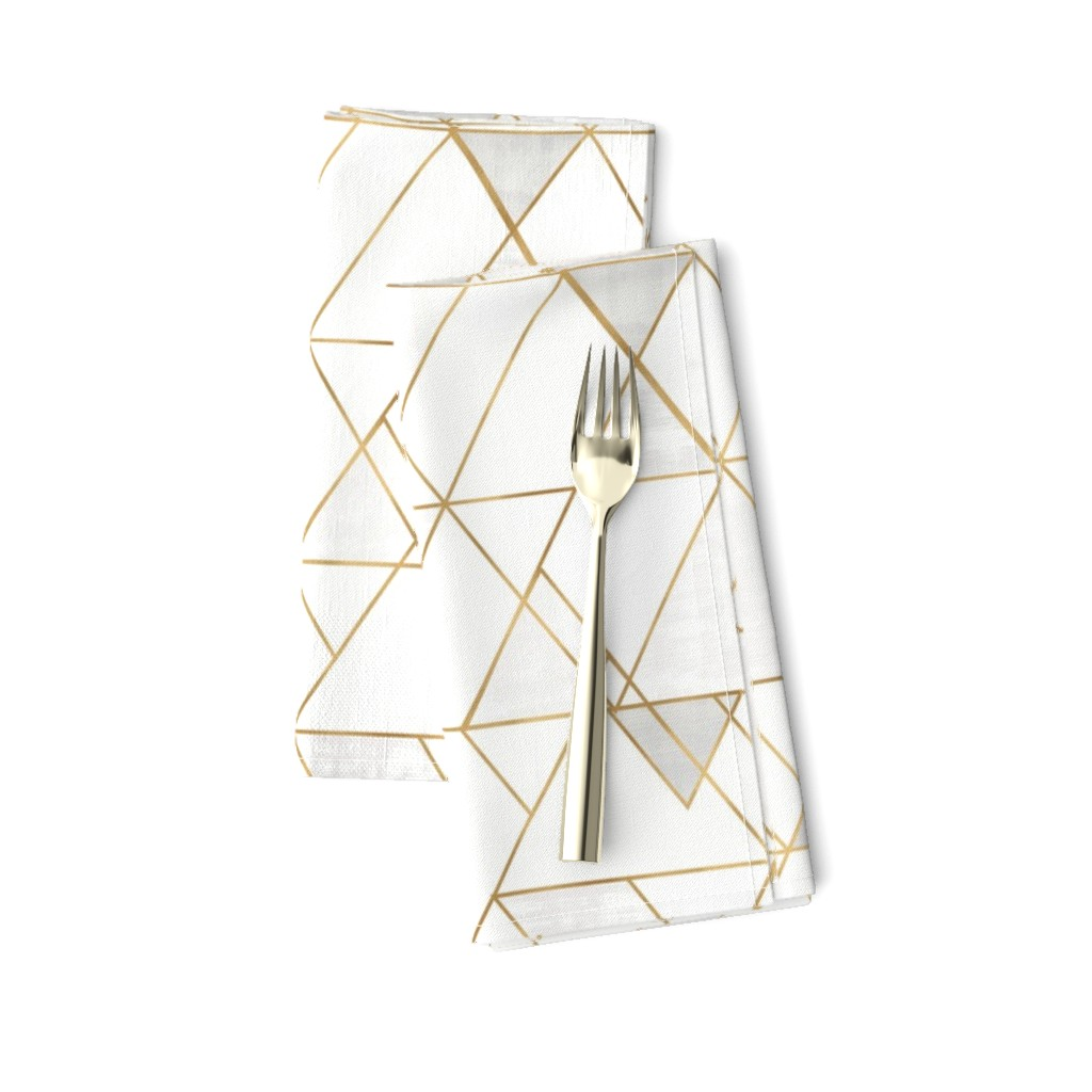 Amarela Dinner Napkins featuring Mod Triangles - white + gold by crystal_walen