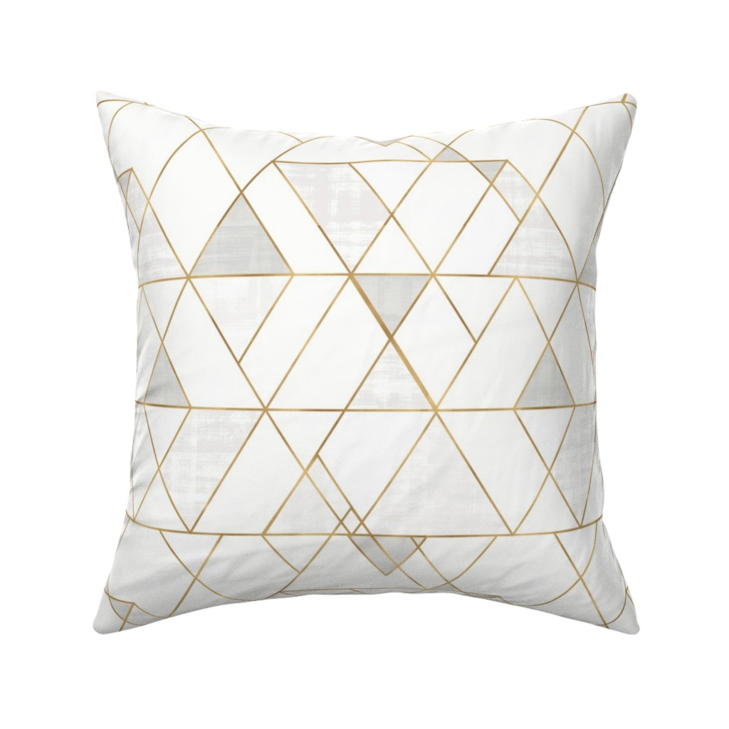 Catalan Throw Pillow featuring Mod Triangles - white + gold by crystal_walen