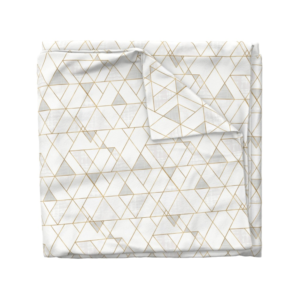 Wyandotte Duvet Cover featuring Mod Triangles - white + gold by crystal_walen