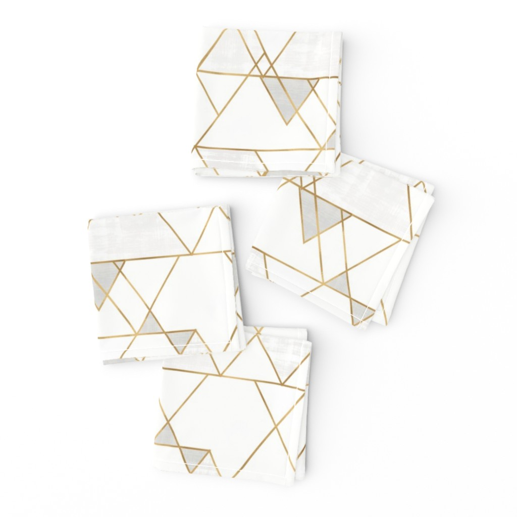 Frizzle Cocktail Napkins featuring Mod Triangles - white + gold by crystal_walen