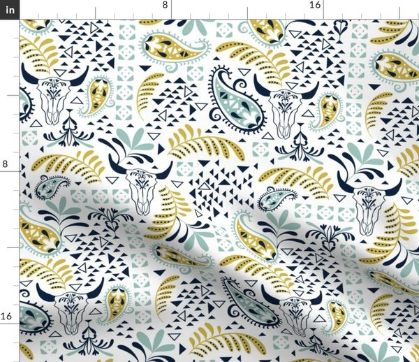 Fabric by the Yard Bohemian Rhapsody White