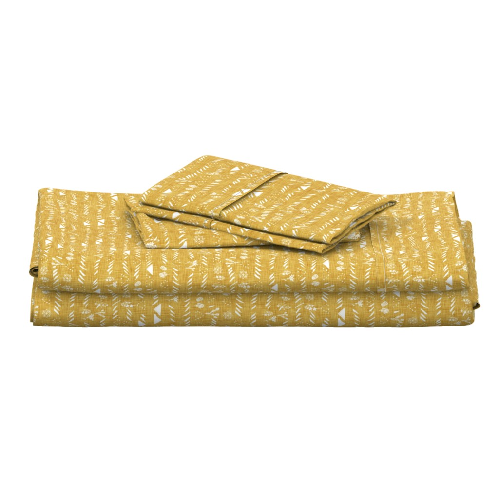 Langshan Full Bed Set featuring Sticks and stones (mustard) by nouveau_bohemian