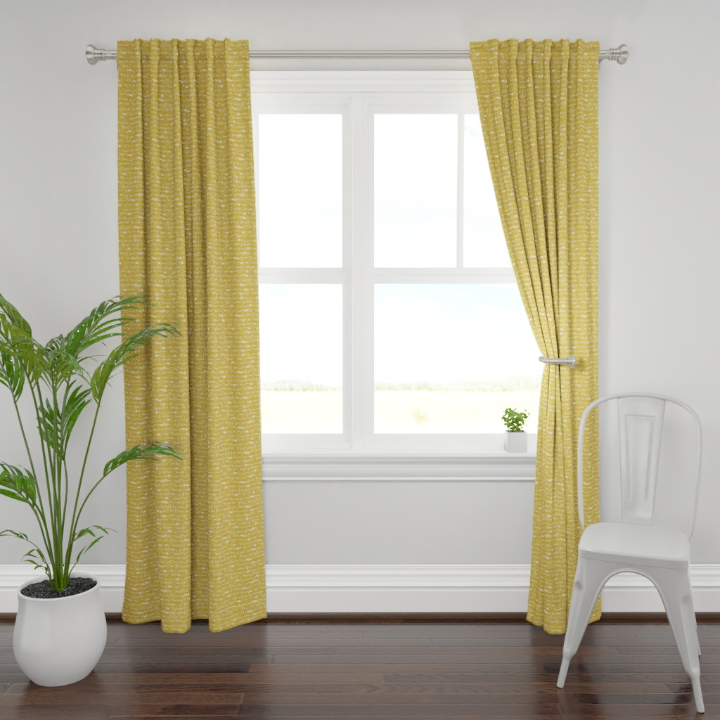 Plymouth Curtain Panel featuring Sticks and stones (mustard) by nouveau_bohemian