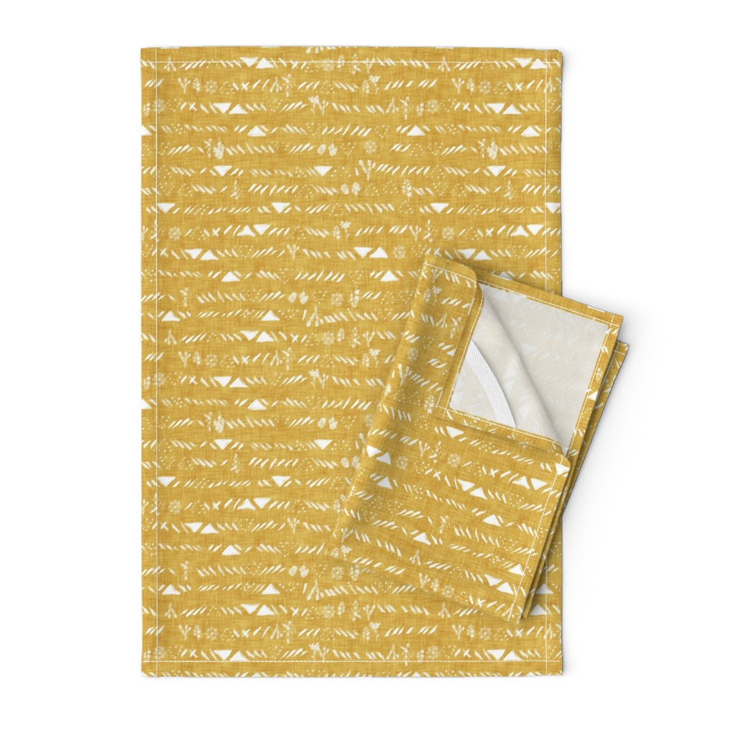 Orpington Tea Towels featuring Sticks and stones (mustard) by nouveau_bohemian