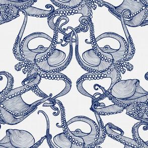Cephalopod - Octopi Navy & White