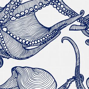 Cephalopod - Giant Octopi Navy & White