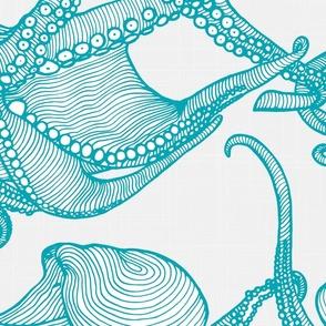 Cephalopod - Giant Octopi Turquoise & White-01