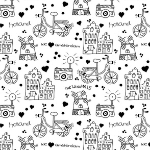 Hello Amsterdam canal houses hipster bike and windmills dutch icons pattern design