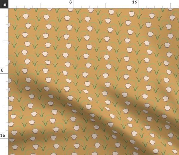 Fabric By The Yard Tulips On Mustard Yellow Upholstery