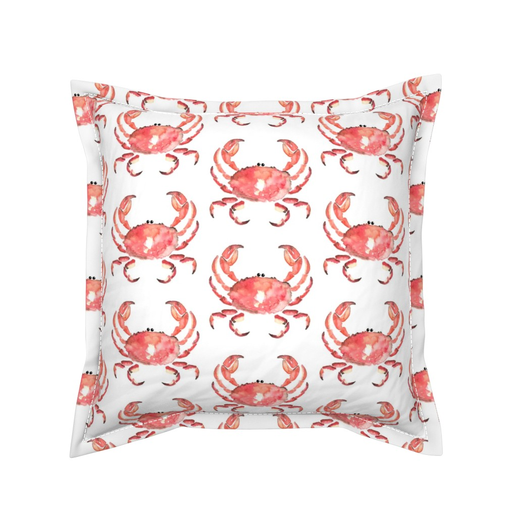 Serama Throw Pillow featuring Nautical Crab watercolor || animal red orange white _ Miss Chiff Designs  by misschiffdesigns