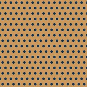 Polka Dots Navy on Tan