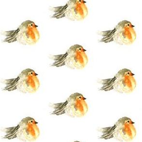 Baby Bird Watercolor || Autumn Fall Robin Orange Gray Grey Taupe Yellow  Gold White _ Miss Chiff Designs
