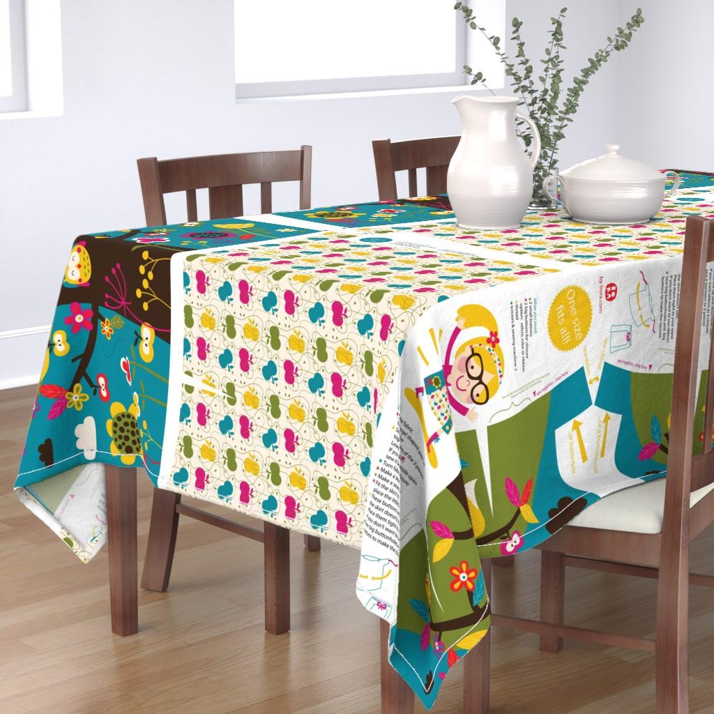 Bantam Rectangular Tablecloth featuring My apple tree 'folding' skirt (view design on Organic Sateen) by bora