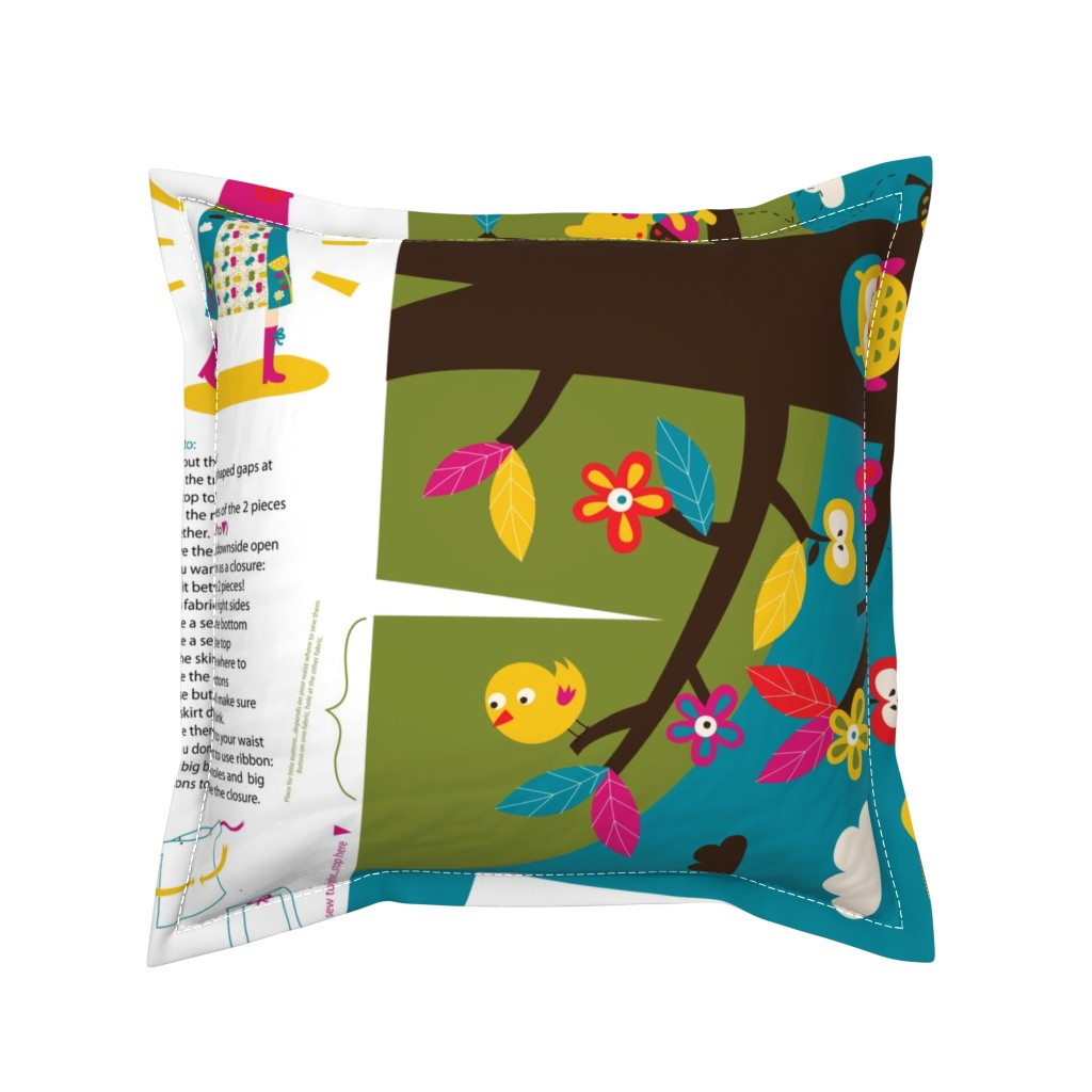 Serama Throw Pillow featuring My apple tree 'folding' skirt (view design on Organic Sateen) by bora