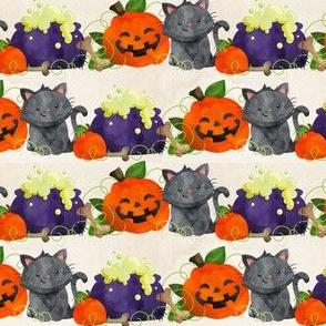 Watercolor Cats and Cauldrons