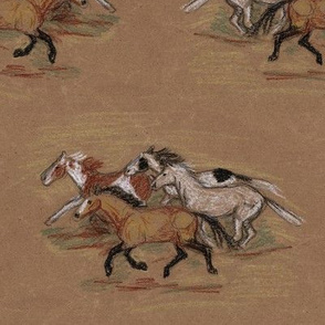 Wild Horse Herd in Crayon on Brown Paper