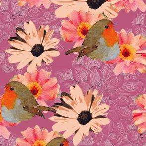 Robins Dahlias Daisies Mauve Upholstery Fabric