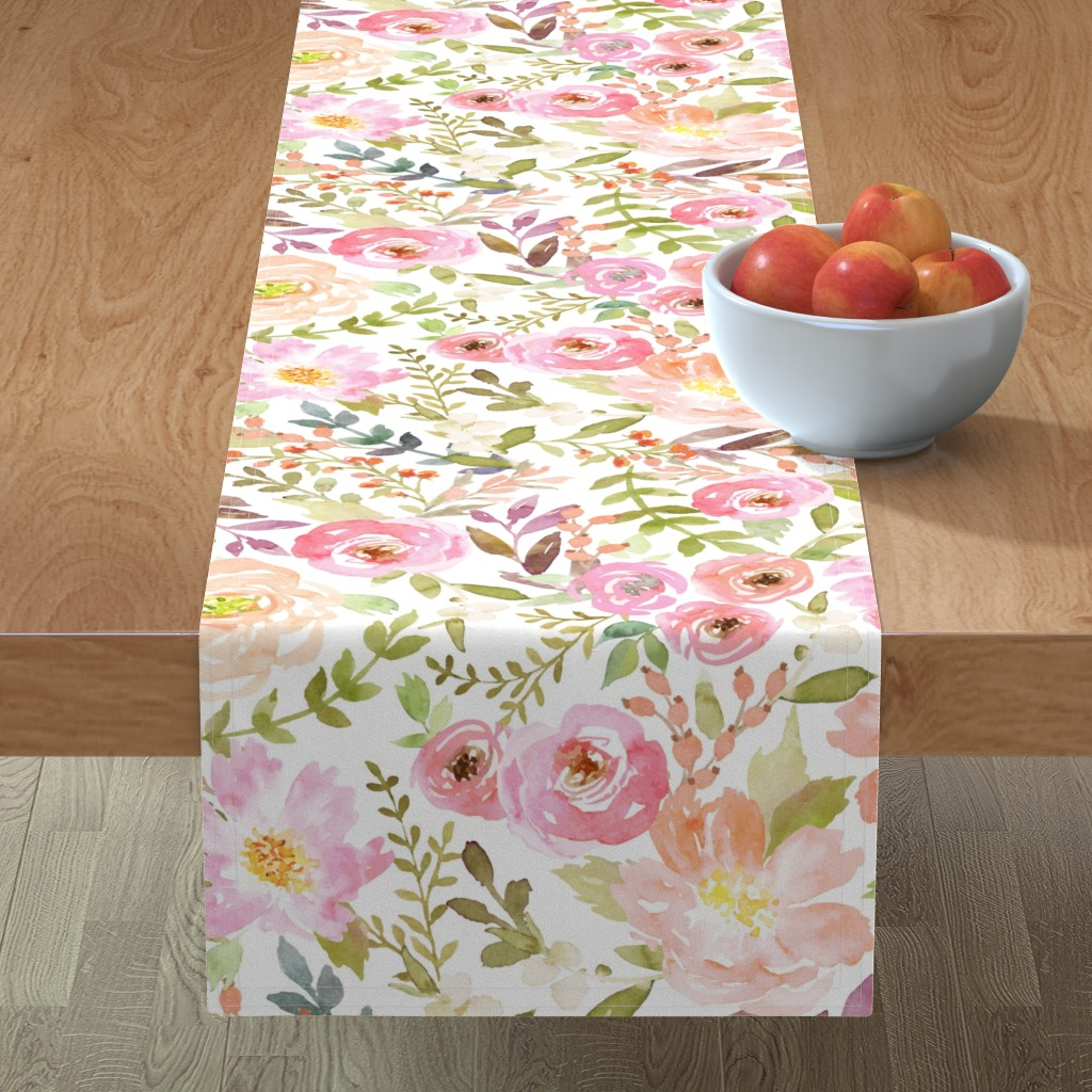 Minorca Table Runner featuring Watercolor Pastel Floral by willowlanetextiles