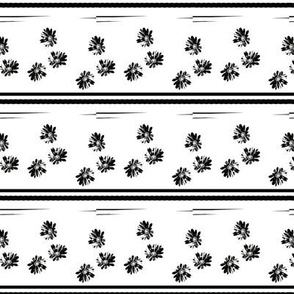 Daisies and Stripes Black and White Upholstery Fabric