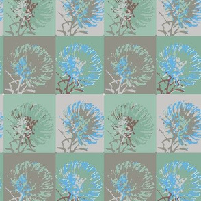 16-2AR Geometric flower || Tropical Plant Protea  Floral ocean water Aqua green gray grey sky  blue brown _ Miss Chiff Designs