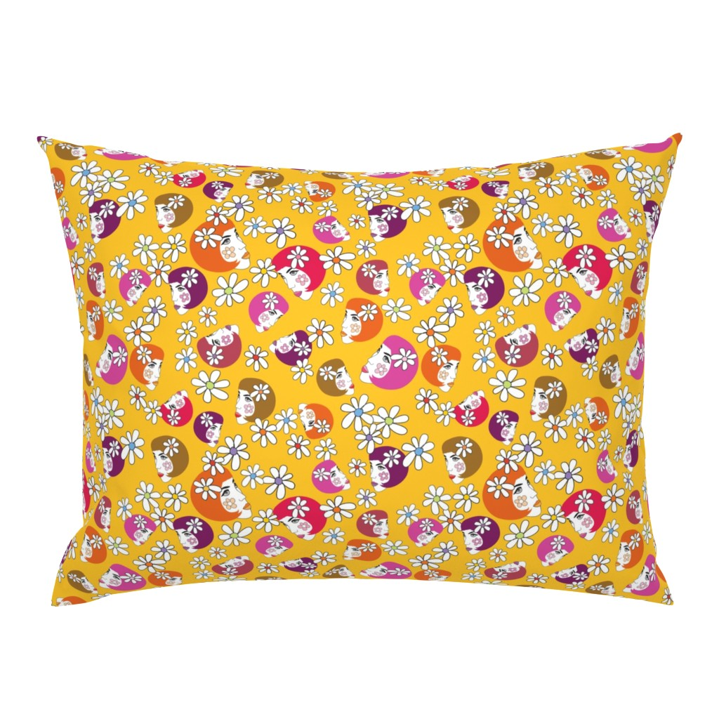 Campine Pillow Sham featuring BoHo_flower_girl_yellow by peppermintpatty