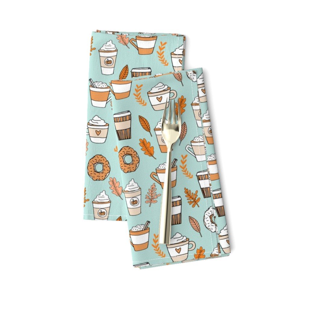 Amarela Dinner Napkins featuring pumpkin spice latte fabric coffee and donuts fall autumn traditions lite by andrea_lauren