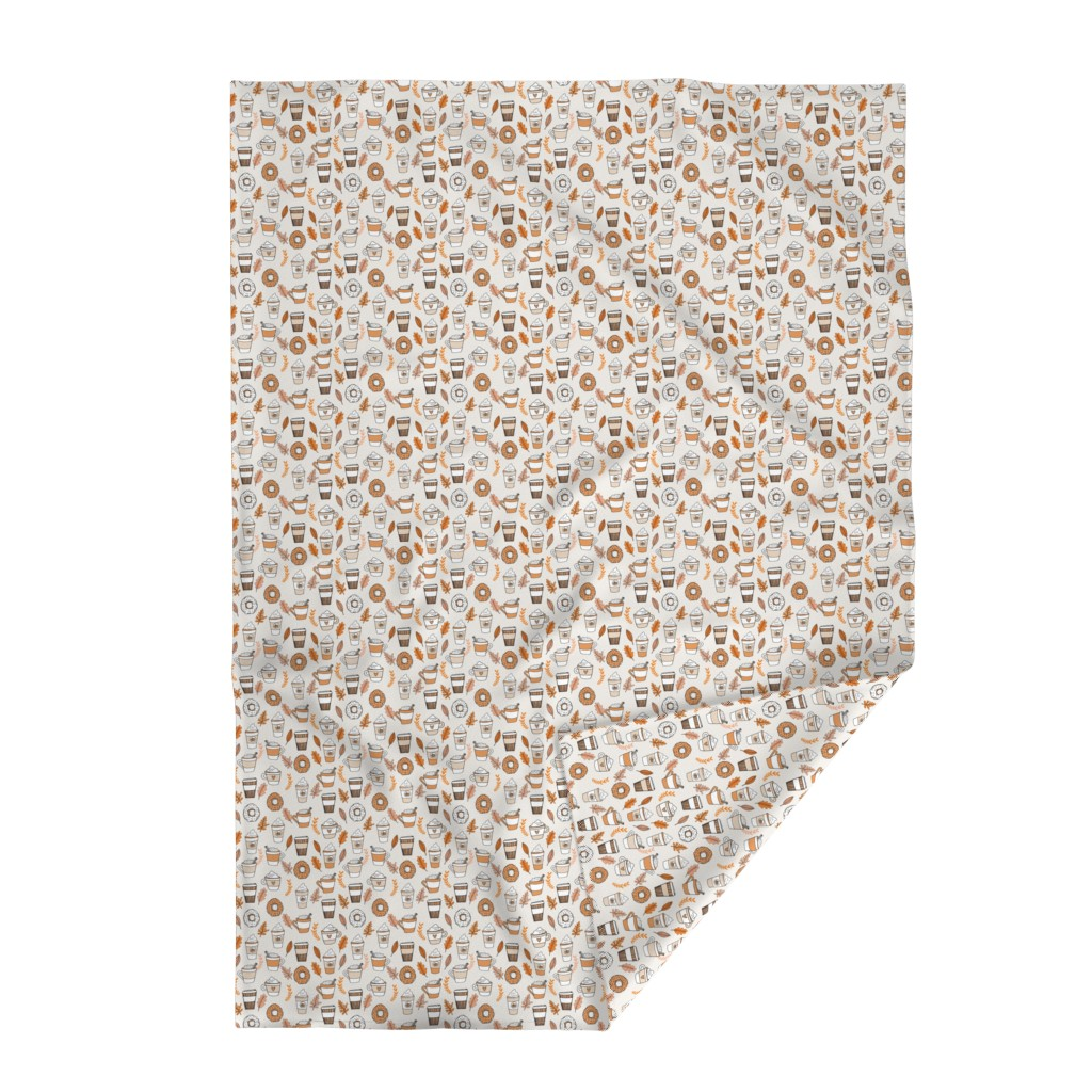 Lakenvelder Throw Blanket featuring pumpkin spice latte fabric coffee and donuts fall autumn traditions off-white by andrea_lauren