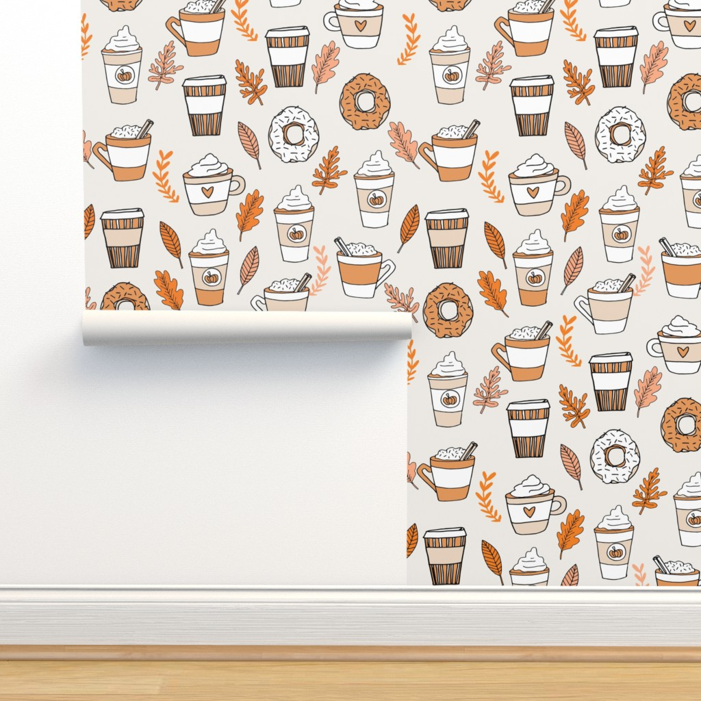 Isobar Durable Wallpaper featuring pumpkin spice latte fabric coffee and donuts fall autumn traditions off-white by andrea_lauren
