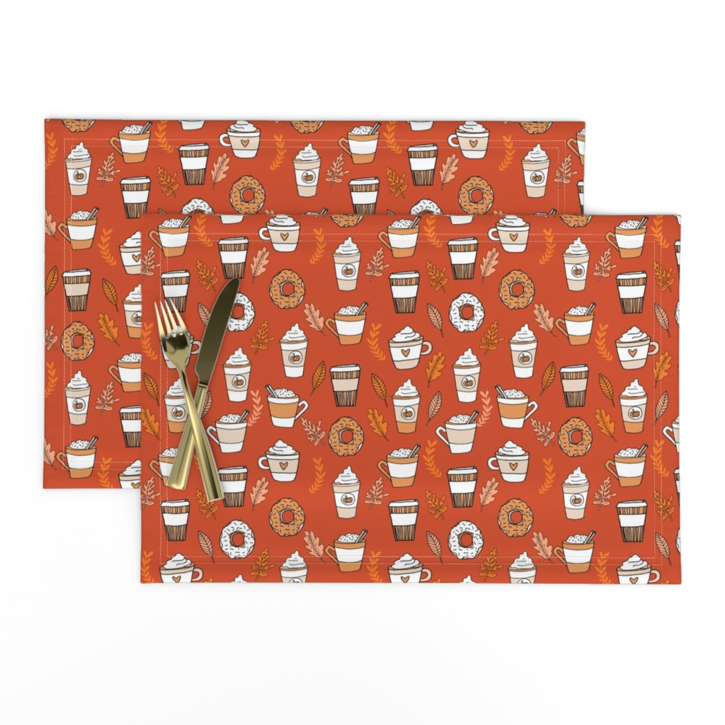 Lamona Cloth Placemats featuring pumpkin spice latte fabric coffee and donuts fall autumn traditions rust by andrea_lauren