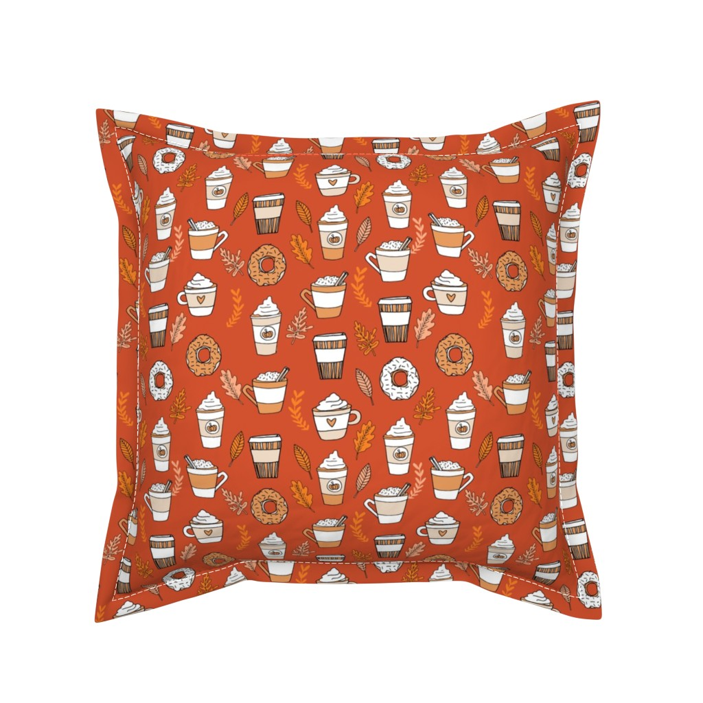 Serama Throw Pillow featuring pumpkin spice latte fabric coffee and donuts fall autumn traditions rust by andrea_lauren