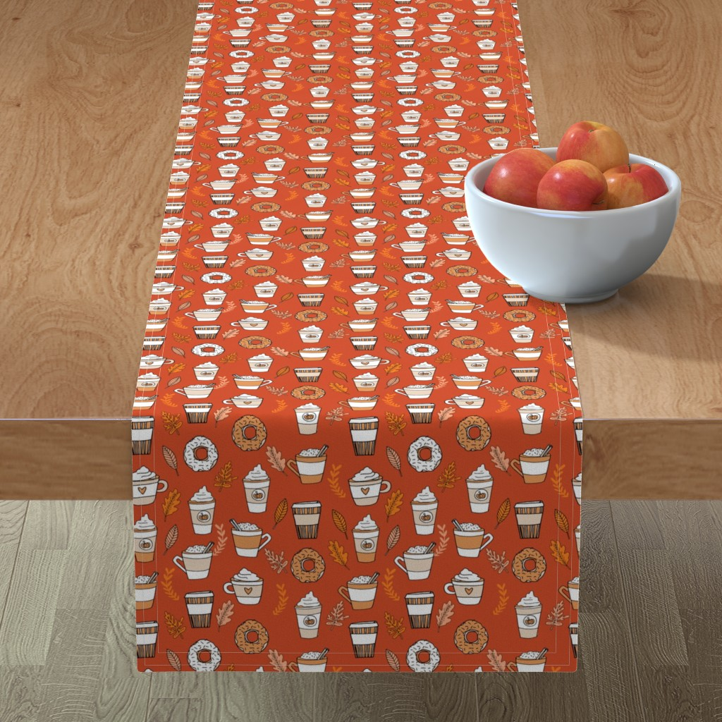 Minorca Table Runner featuring pumpkin spice latte fabric coffee and donuts fall autumn traditions rust by andrea_lauren
