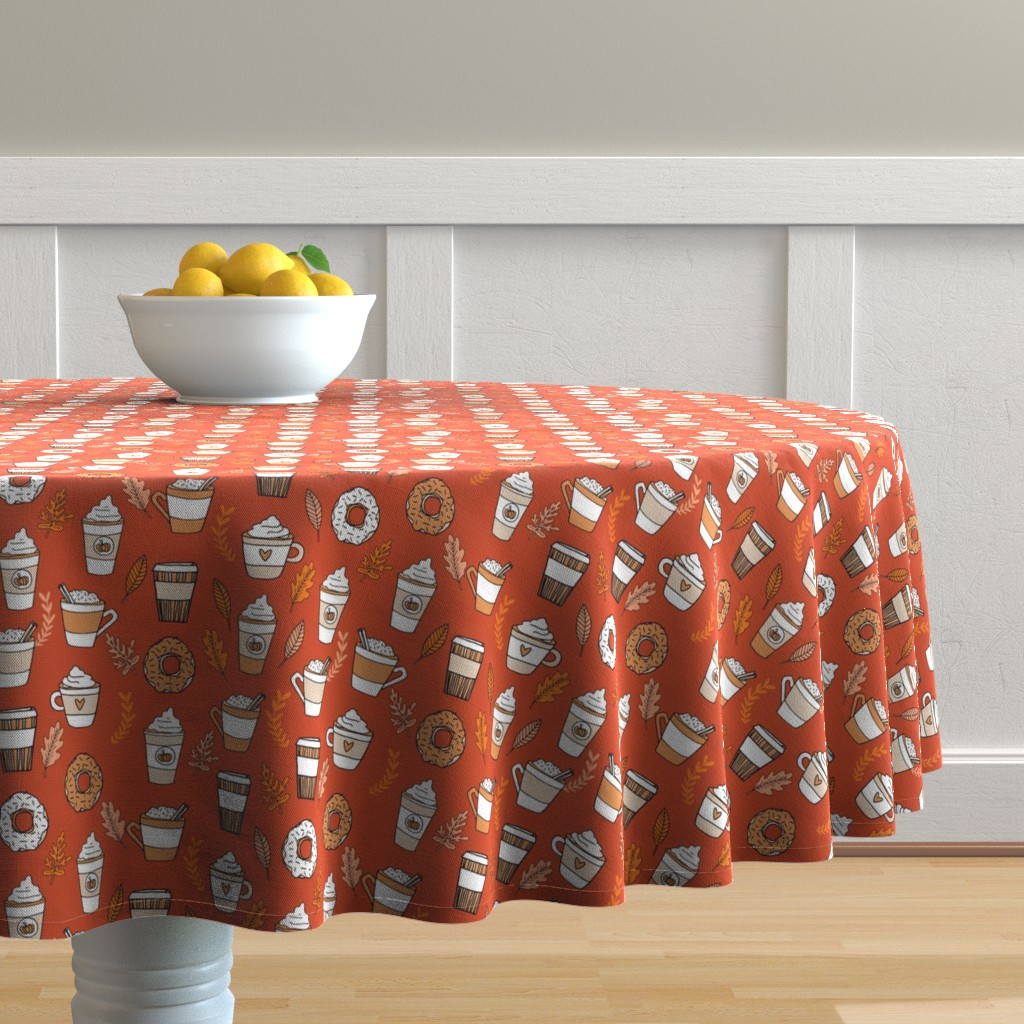Malay Round Tablecloth featuring pumpkin spice latte fabric coffee and donuts fall autumn traditions rust by andrea_lauren