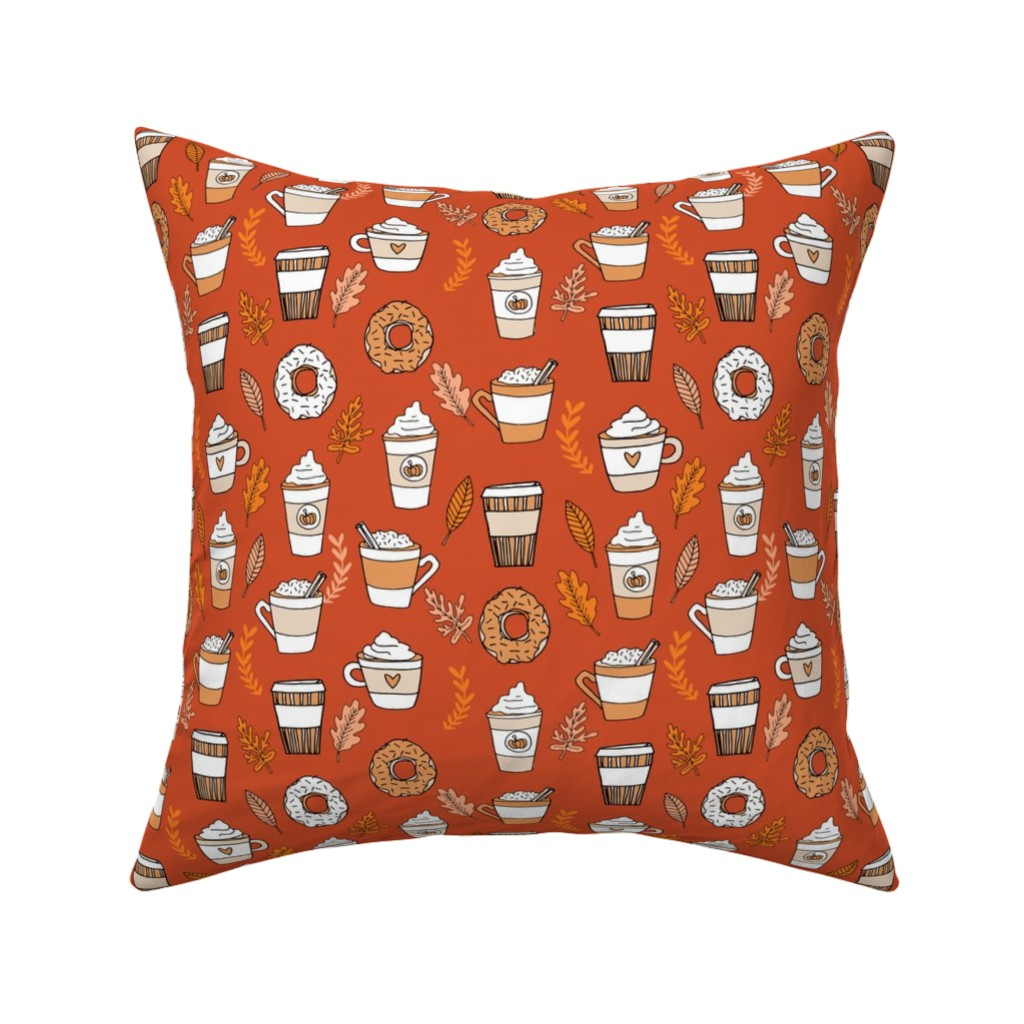 Catalan Throw Pillow featuring pumpkin spice latte fabric coffee and donuts fall autumn traditions rust by andrea_lauren