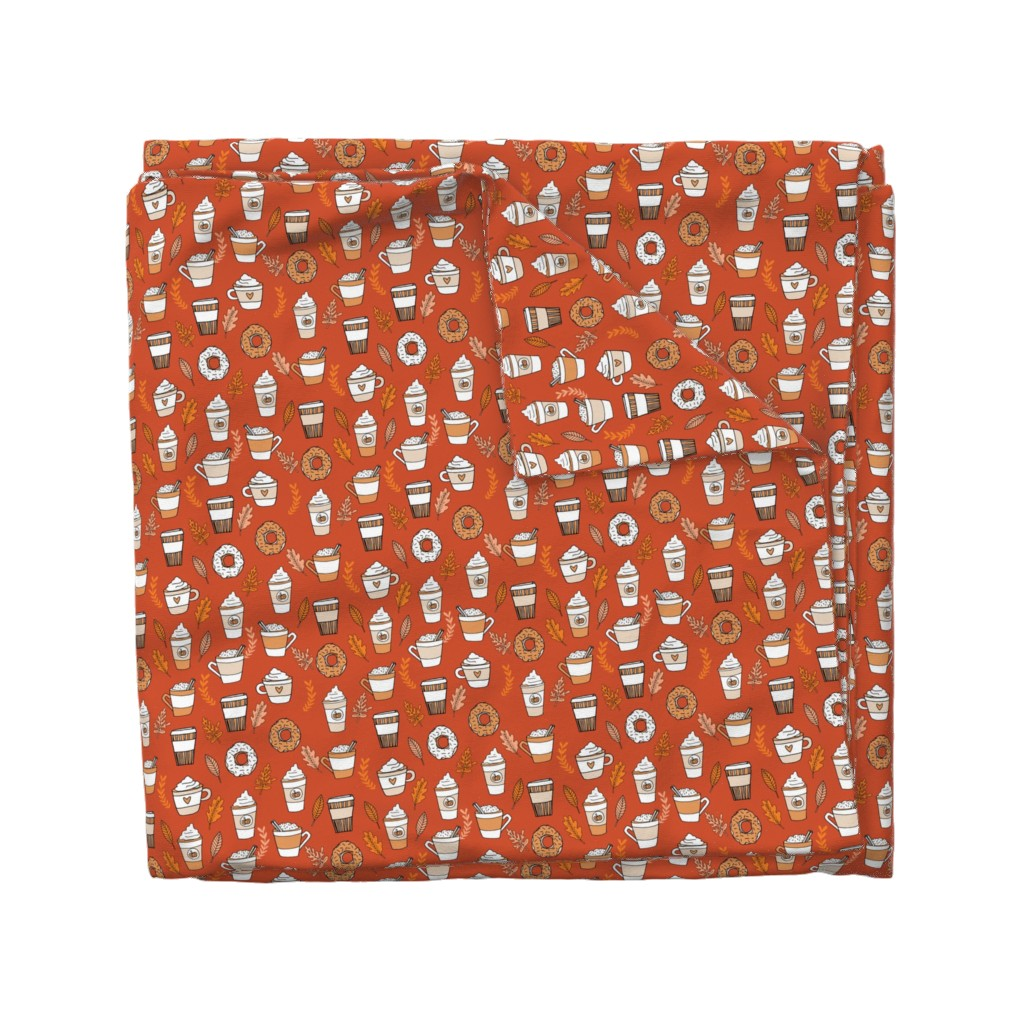 Wyandotte Duvet Cover featuring pumpkin spice latte fabric coffee and donuts fall autumn traditions rust by andrea_lauren