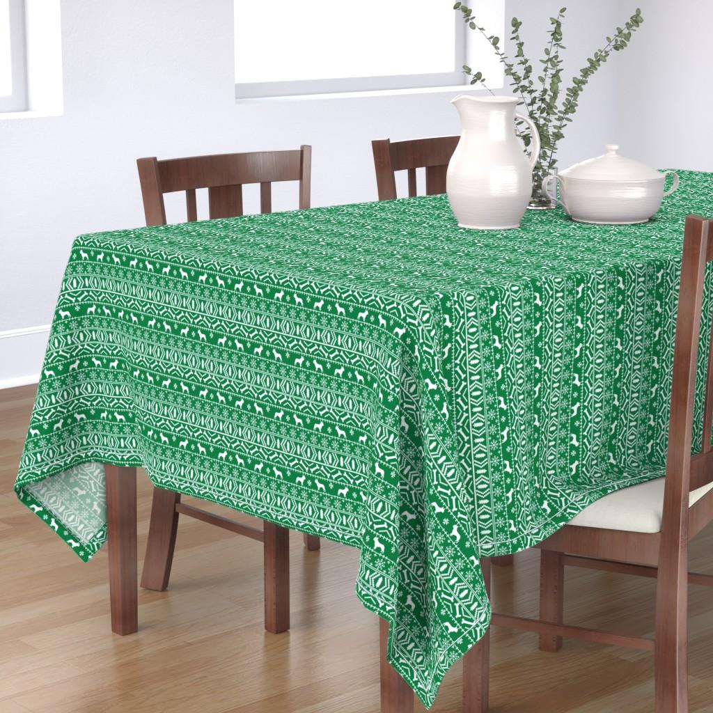 Bantam Rectangular Tablecloth featuring Boston Terrier fair isle christmas dog fabric green by petfriendly