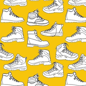 Hiking Boots on Yellow