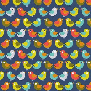 Retro garden - little birds blue
