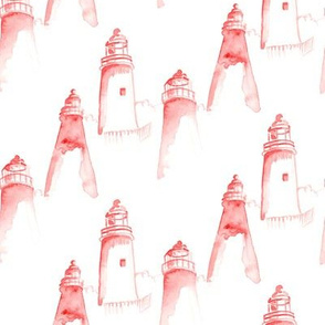 Red Nautical Watercolor || Pink white Lighthouse Light House ||  ocean water Maine _ Miss Chiff Designs