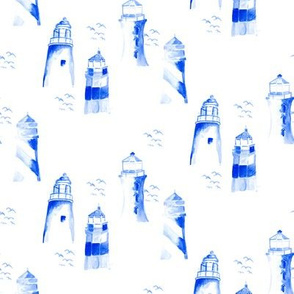 Nautical blue light house watercolor || Maine bird white indigo ocean water _ Miss Chiff Designs