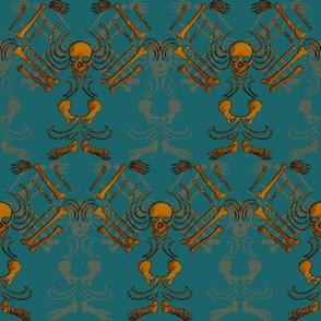 Skeleton Damask-Copper and dark teal
