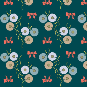 Dainty Floral on Teal
