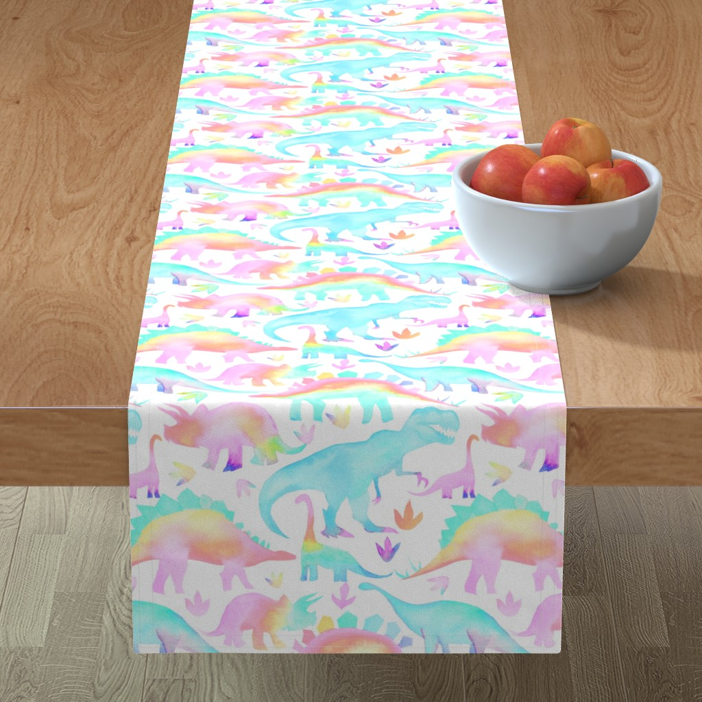 Minorca Table Runner featuring Pastel Dinosaurs - larger scale by emeryallardsmith
