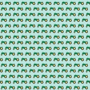 (micro print) tractor - green on blue