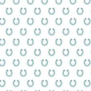 Horseshoes Blue on White