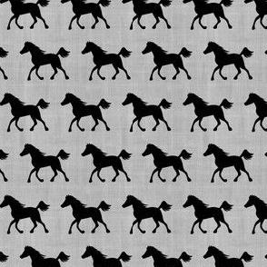 Horses on Linen Gray