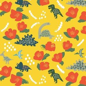 Dinosaur floral garden in yellow