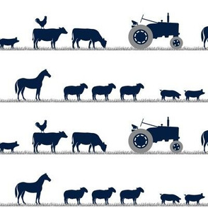 farm animals on parade - dusty blue and navy farm collection