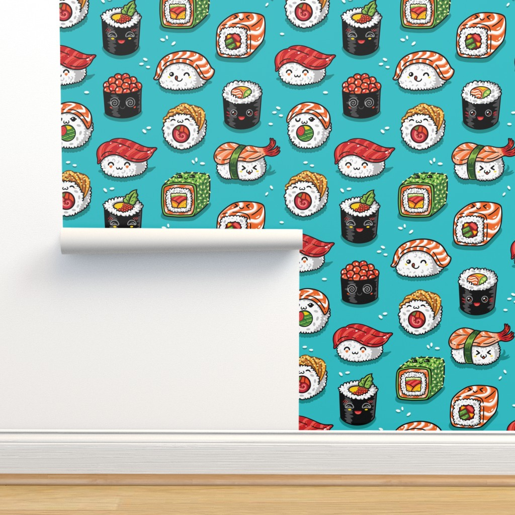 Cute Kawaii Sushi On Isobar By Penguinhouse Roostery Home
