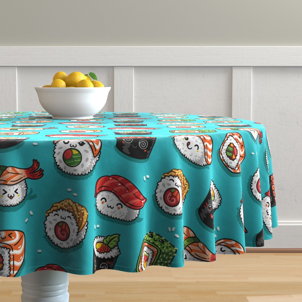 Malay Round Tablecloth featuring Cute kawaii sushi by penguinhouse