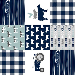 farm life - tractor wholecloth patchwork - navy and dusty blue (90)